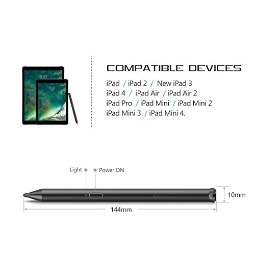 Heiyo iPad Active Stylus-Capacitive Digital Pen Supporting 40-Hour Playing Time 30-Day Stand 120-second Auto Power Off 3 Replaceable Fine Point Rubber Tips Touchscreen Styli Pencil iPad by Heiyo (Image #1)