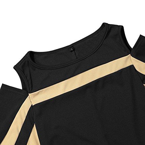 Blusas ❤️euzeo❤️ Mujeres Euzeo Camiseta Hombros ❤️negro❤️ Flare Camisa Tops Empalme Elegantes Tee mujer Crop Blusa Para Descubiertos Mujer Manga YqYCxE04