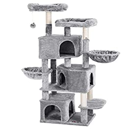 FEANDREA Large Cat Tree with 3 Cat Caves, Multilayer Cat Tower Suitable for Kittens, Old Cats, Stable Beige Cat Condo, 21.7 x 15.7 x 64.6 Inches