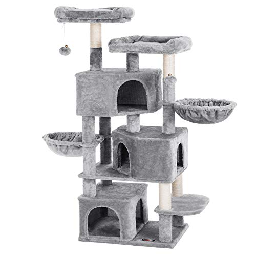 FEANDREA Large Cat Tree with 3 Cat Caves, Multilayer Cat Tower Suitable for Kittens, Old Cats, Stable Beige Cat Condo…