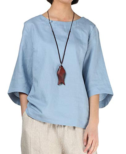 Minibee Women's Loose Cotton Linen Blouse Round Neck with Chinese Frog Button Light Blue-L