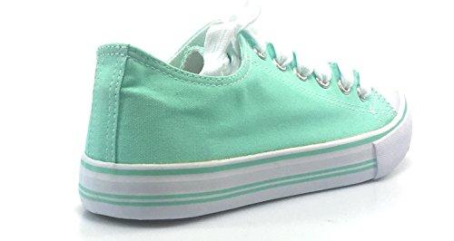 Sneakers Casual In Tela Da Donna Torna A Scuola Scarpe Da Ginnastica Stringate Eleganti In Tela Verde Menta