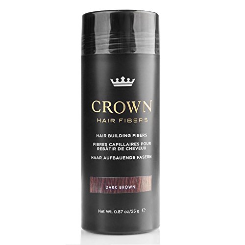 CROWN Hair Fibers - Best Keratin Hair Fibers Instantly Thickens Thinning Hair for Men and Women - Natural Hair Loss Concealer 0.87oz - Dark Brown (Best Hair Fiber Powder)
