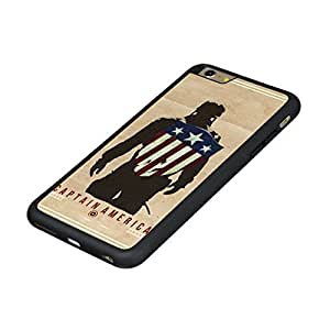 Captain America iPhone 6 TPU Case,Durable Tough Hard Back Cover with Soft High Impact TPU Anti-Slip Edge,Anti-Scratch Impact Resistant Shock Absorption Drop Protection Case Shell, Heavy Duty Poly-Carbonate (PC) Back Case and Black Non Slip Reinforced Rubber Edge Hybrid Armor protective shell