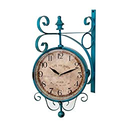 Ysayc Mediterranean style Double-sided Wall Clock Retro Arabic Numerals and Roman numerals Creativity Hotel Living Room Outdoor Garden Silent Wall Clock, Blue