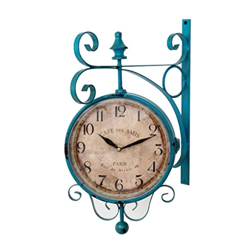 Double sided outdoor clock with a Blue Frame