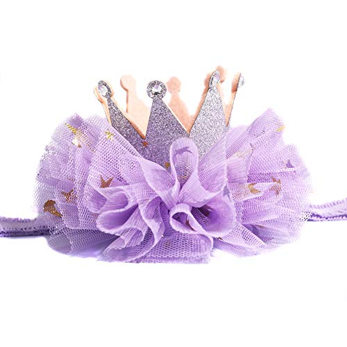 Crown Hair Band Toddler 1 one Crown Headband for Baby Girl Princess First Birthday Handmade Hair Accessory (Silver Crown Purple Sparkle Tulle)