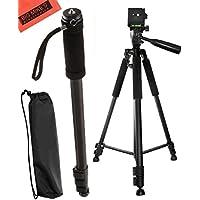 Deluxe 57-inch Professional Camera Tripod And 72 Inch Monopod For Canon Digital EOS Rebel SL1, T1i, T2i, T3, T3i, T4i, T5, T5i, T6i, T6s, EOS 60D, EOS 70D, 50D, 40D, 30D, EOS 5D, EOS 5Ds, EOS 5D Mark III, EOS 6D, EOS 7D, EOS 7D Mark II, EOS-M Digital SLR Cameras