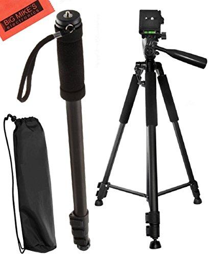 Deluxe 57-inch Professional Camera Tripod and 72 Inch Monopod for Canon Digital EOS Rebel SL1, T1i, T2i, T3, T3i, T4i, T5, T5i, T6i, T6s, EOS 60D, EOS 70D, 50D, 40D, 30D, EOS 5D, EOS 5Ds, EOS 5D Mark