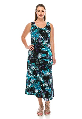 (Jostar Women's Stretchy Long Tank Dress Print X-Large Teal)
