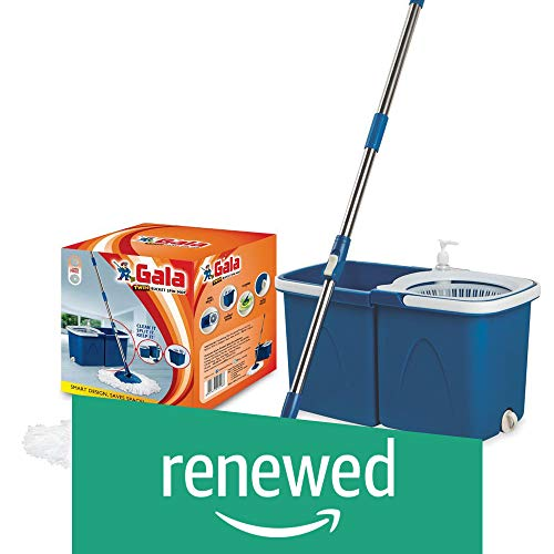 Renewed  Gala Twin Bucket Stainless Steel Spin Mop Set  Blue, 5 Pieces