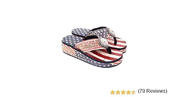 Montana West Ladies Chanclas Texas Lone Star Bandera Azul Marino Azul: Amazon.es: Zapatos y complementos