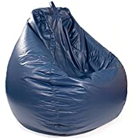 Gold Medal Large Leather Look Tear Drop Bean Bag, Navy