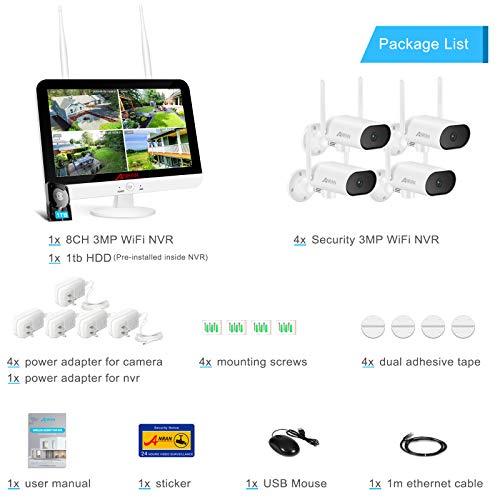 [Enregistrements Sonores et Pivot à 180°] Ensemble Caméra de Sécurité ANRAN 3MP WiFi Extérieur Moniteur LCD HD 13 Pouces 8CH NVR avec 4X sans Fil Caméra de Vision Nocturne Disque Dur 1TB Préinstallé