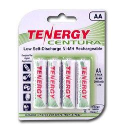 Tenergy Centura AA Low Self-Discharge (LSD) NiMH Rechargeable Batteries, 1 Card 4 x AA