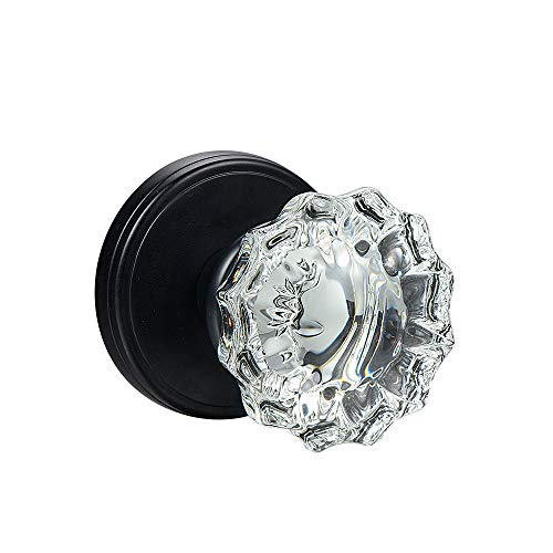 (SHINY HANDLES Clear Crysyal Round Vintage Door Knobs,Passage Function,Polished Brass (Privacy Function, Matte Black))