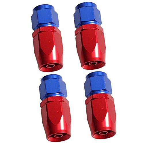 KingFurt 4pcs Aluminum Alloy 6AN Straight Swivel Car Fuel Oil Line Hose End Fitting (Red & Blue)