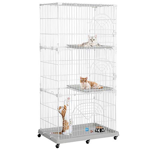 Yaheetech 3-Tier Large Wire Pet Cat Kitten Cage Crate Playpen Enclosure with Shelves Indoor