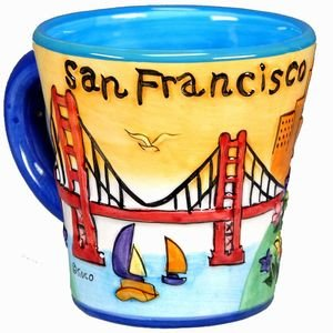 (San Francisco Coffee Mug UBULA Trumpet Shape With Artistic Colors With Exclusive Copyrighted CA Bear Magnet)