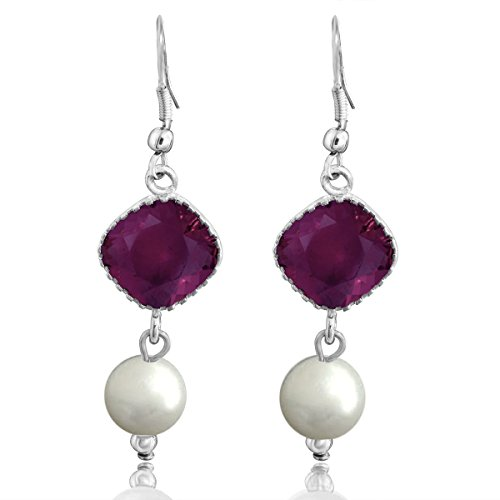 Spargz Stylish Bollywood Silver Indian Designer Rhodolite Crystal Collection Pearl Drop Earring For Women