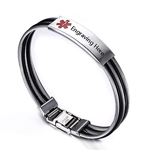 Fortheday Personalized Mens Medical Bracelets for Men Womens Medic Alert ID Bracelets Medical Bracelets