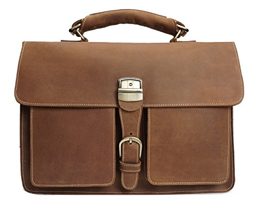 MUMUWU Men's Business Bag Crazy Horseskin Retro Handbag Briefcase First Layer Leather Shoulder Bag (Color : Brass, Size : M) from MUMUWU