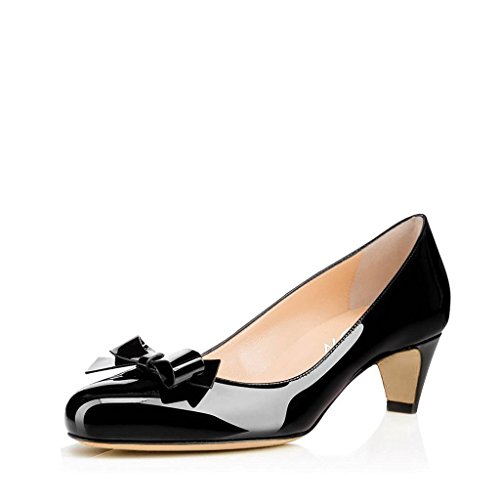 Toe with Closed Bowknot Heels YDN Round Shoes Women Black Work Low Office Pumps Ladies for SqwFt