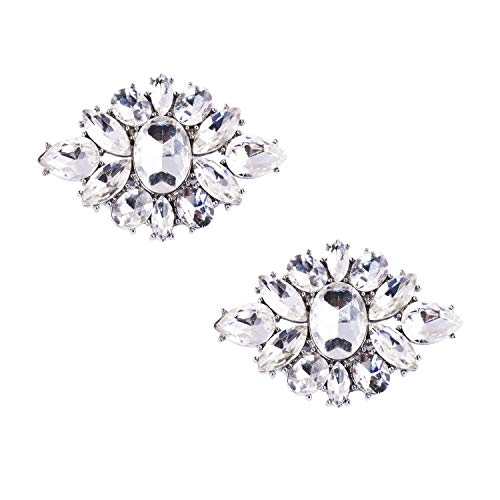 ElegantPark DL Women Diamond Rhinestones Shoe Clips Decorative Charms Jewelry Wedding Party Accessories Decoration Silver 2 Pcs ()
