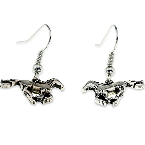 Dangle Silver Running Galloping Horse Hypoallergenic Earring for Women Teen Little Girl Jewelry Gift