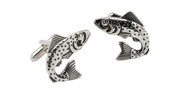 Cufflinks Woodcut Trout Fish Design Handmade Cuff Links for Dads Fathers Men Fisherman