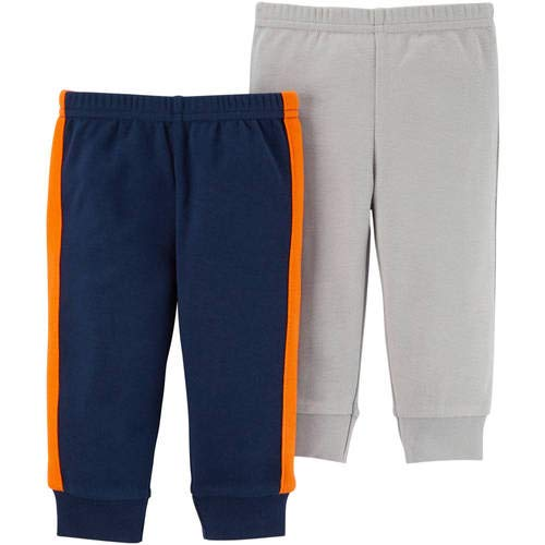 Solid Grey and Navy Blue//Orange 2 Pair, Child of Mine by Carters Baby Boy Size Newborn Pants