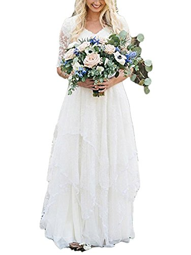 MileyHouse V-neck Bohemian Wedding Dress Lace Chiffon Half Sleeves Long Bridal Gowns