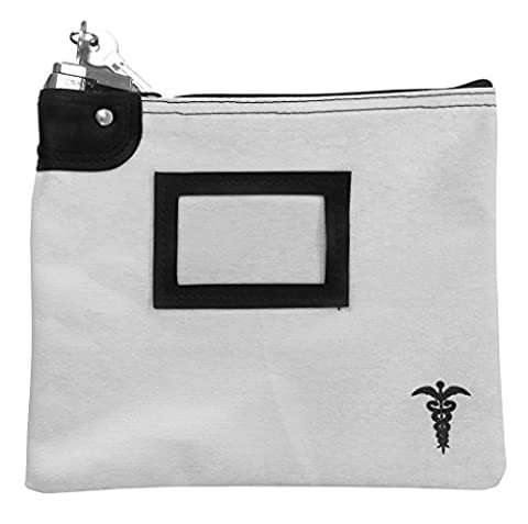 Medication Bag Heavy Canvas Standard Keyed Lock with Card Holder White - Locking Security Bags