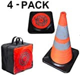 Light up LED Traffic Cone First Responder Heavy Duty Base 28'' Collapsible 4-Pack Carrying Case