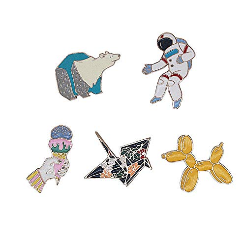 Dog Pin Set - Cute Enamel Lapel Pins Sets Cartoon Animal Plant Fruits Foods Brooches Pin Badges for Clothing Bags Backpacks Jackets Hat DIY (Balloon Dog Polar Bear Spaceman papercranes Icecream Set of 5)
