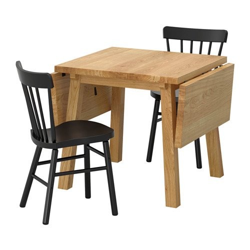 Ikea Table and 2 chairs, oak, black 18204.20514.3822