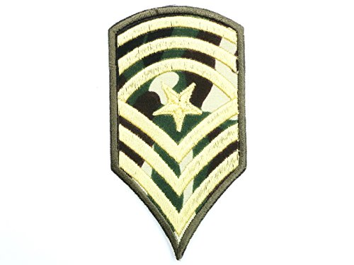Sgt Camo (Sgt Sergeant Major Stripes Army Navy Military Camo Iron On Embroidered Patch Approx: 3.5