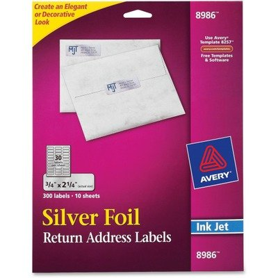 Avery Silver Foil Mailing Label - 0.75quot; Width x 2.25quot; Length - 300/Pack - Rectangle - 30/Sheet - Inkjet - Silver