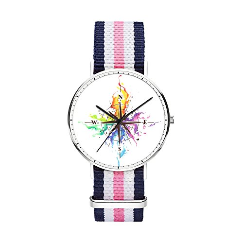 SunbirdsEast Unisex Stainless Steel Silver Watch with Design Freehand Compass Pattern Analog Quartz Wrist Watch with Nylon Multi-Color Striped Band for Men 40mm (3f Watercolor)