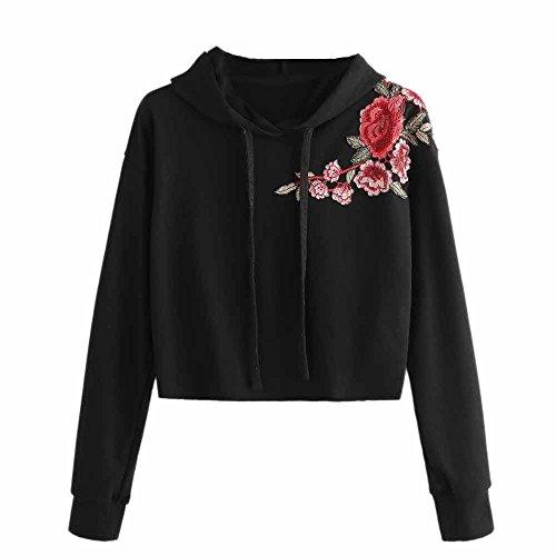 Vovotrade Femmes Vtements Dcontracts Sweats  Capuche en coton Sweats  Capuche Sweats  Capuche en Coton Top Pull  Broder Noir