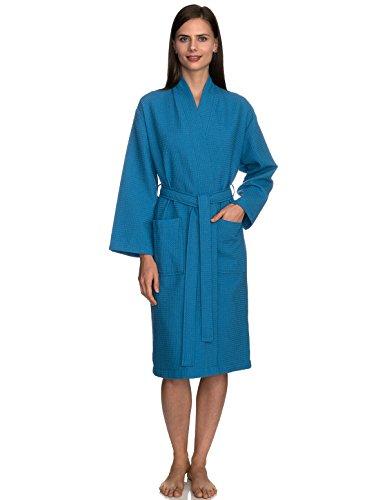 TowelSelections Women's Robe, Kimono Waffle Spa Bathrobe Large/X-Large Mediterranean Blue