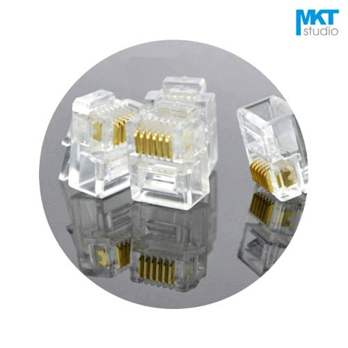 Davitu 100Pcs 6P6C 6 Pins 6 Contacts RJ11 Telephone Modular Connector Plug Jack ()