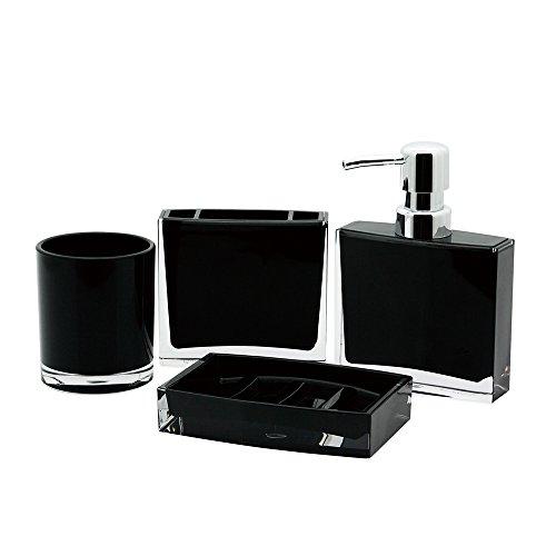 - Kingston Brass CBAK2300K 4 Piece Krystal Bathware Canyon Bath Accessory Set, 5-15/16 Inch Length, Black