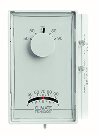 Supco 43005A Vertical Mechanical Heating/Cooling Thermostats, 50 to 90 Degree F, 24 VAC