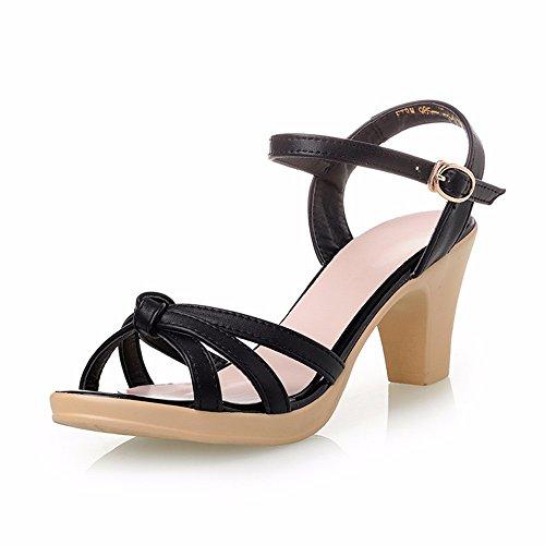 Shoes Sandalias de Verano Femenina Mujer de Mediana Edad La Comodidad Elegante Madre Zapatos Negro