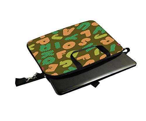 Snoogg Dotted-Zeichensätze 30,5cm 30,7cm 31,8cm Zoll Laptop Notebook Computer Schultertasche Messenger-Tasche Griff Tasche mit weichem Tragegriff abnehmbarer Schultergurt für Laptop Tablet PC Ultra