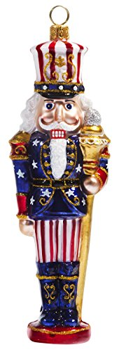American Flag Christmas Ornament - Joy To The World Stars and Stripes Nutcracker Polish Glass Christmas Ornament American Flag USA