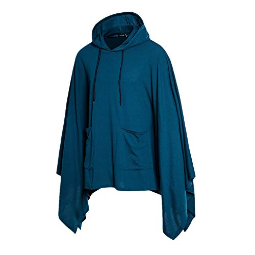 Badger Solid Jerseys Baseball (Sunhusing Men's Solid Color Cloak Hooded Sweatshirt Stitching Bat Sleeve Irregular Hem Loose Cape Coat)