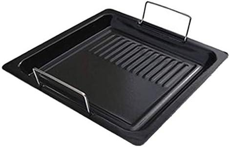 ZTMN Binaural Carré Plaque De Cuisson en Aluminium Revêtement Antiadhésif Ménage Four en Plein Air Barbecue Pizza Plat De Poisson Grillé Noir Taille: 25 cm
