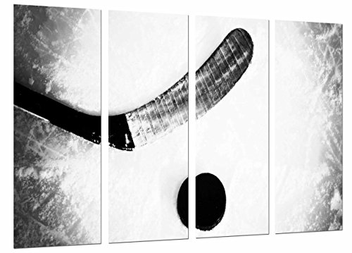 Cuadros Camara Multi Wood Printings Art Print Box Framed Picture Wall Hanging - (Total Size: 51.5 x 24.4 in), Hockey Sport, Stick On Ice, Black and White - Framed and Ready to Hang - ref. 27038